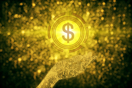 Abstract hand holding golden dollar sign on sparkly background. Rich concept. 3D Rendering