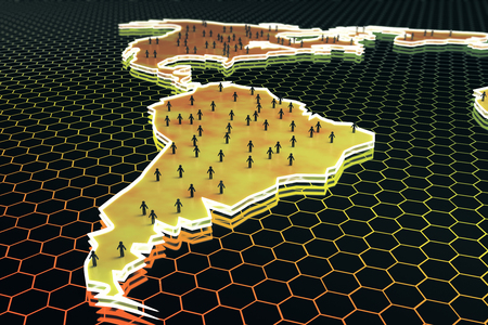 Abstract map with small peoplebusinessmen figures on honeycombhexagon patterned background. Connection concept. 3D Rendering Stock Photo