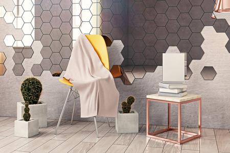 육각 거울, 장식 식물, 가구 및 기타 항목과 창의적인 인테리어의 전면 뷰. 3D 렌더링