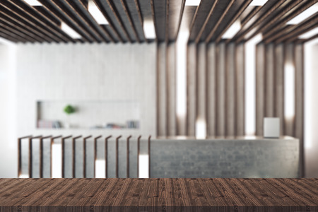 working office: Empty wooden surface in interior with blurry reception desk. Mock up, 3D Rendering