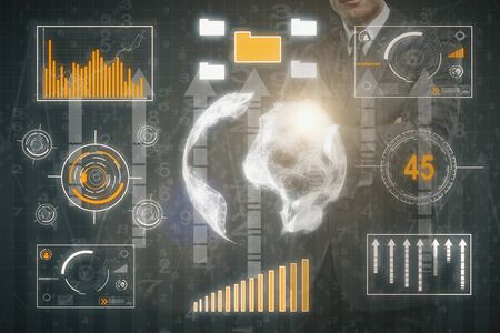 modern innovative: Businessman with abstract business touch screen and arrows. Data concept. Double exposure. 3D Rendering