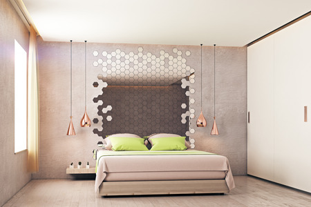 #80813511   Abstract Bedroom Interior With Furniture, Hexagonal Mirror And  Window With Sunlight. 3D Rendering
