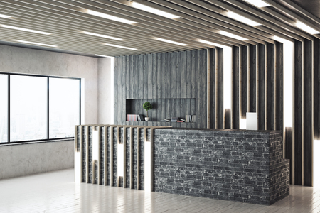 Side view of modern reception desk in contemporary interior with city view. 3D Rendering