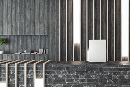 furniture design: Close up creative dark brick reception desk with empty paper sheet. Mock up, 3D Rendering