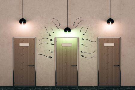 front view: Three wooden doors with drawn arrows and illuminated lamps in concrete interior. Direction concept. 3D Rendering