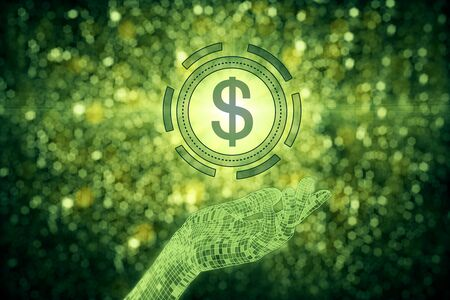 Abstract hand holding green dollar sign on sparkly background. Income concept. 3D Rendering