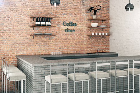 modern interior: Modern red brick coffee bar interior with items on shelves. 3D Rendering Stock Photo
