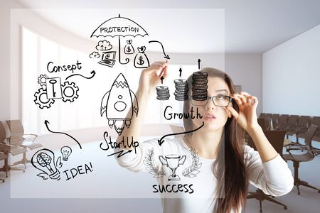 sketch: Thoughtful european woman drawing abstract business sketch in blurry interior with seats. Accelerate concept. 3D Rendering Stock Photo