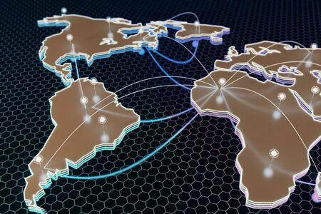 Abstract digital map with connected points on dark honeycomb background. Global business concept. 3D Rendering Stock Photo