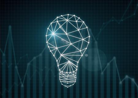 ビジネス グラフと暗い背景に多角形電球。アイデア コンセプト。3 D レンダリング 写真素材