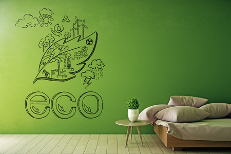green environment: Bright green interior with sketch on wall, table with decorative plant and couch with cushions. Eco concept. 3D Rendering Stock Photo