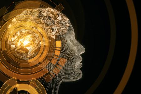 Abstract orange digital human profile on dark background. Robot concept. 3D Rendering Stockfoto
