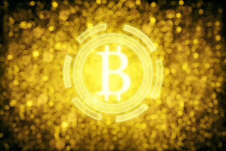 Golden bitcoin icons on sparkly background. Exchange concept. 3D Rendering