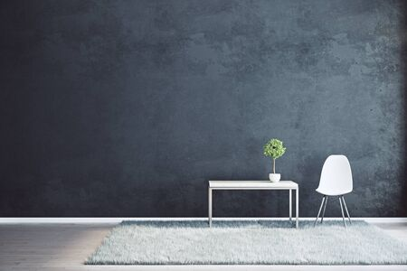 frontview: Front view of black interior with empty wall, coffee table with plant, chair and fluffy carpet. Mock up, 3D Rendering