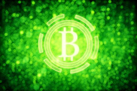 Green bitcoin icons on sparkly background. E-commerce concept. 3D Rendering