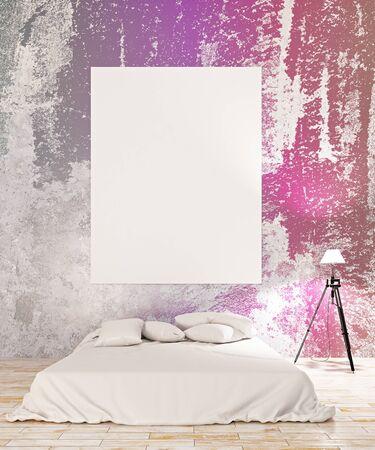 frontview: Front view of empty chalkboard in creative bedroom interior. Mock up, 3D Rendering