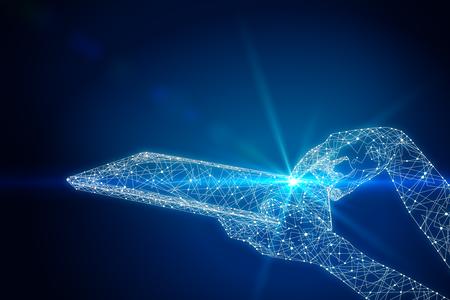 Blaue polygonale Hand unter Verwendung der glühenden Tablette. Technologiekonzept 3D-Rendering Standard-Bild - 81184581
