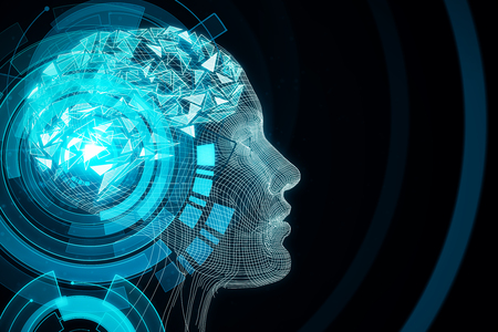 Abstract blue digital human profile on dark background. Robotics concept. 3D Rendering