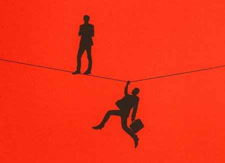 서서 빨간색 배경에 로프 잡고 남자 실루엣. 균형 개념. 3D 렌더링 스톡 콘텐츠 - 81221740