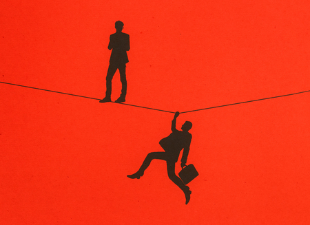 Men silhouettes standing and holding onto rope on red background. Balancing concept. 3D Rendering