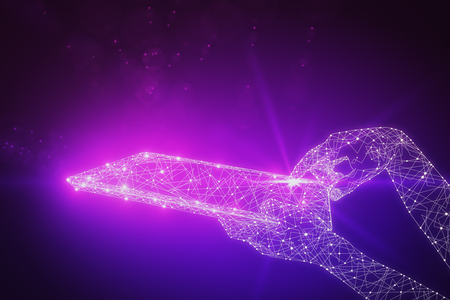 touch screen interface: Purple polygonal hand using glowing tablet. Media concept. 3D Rendering