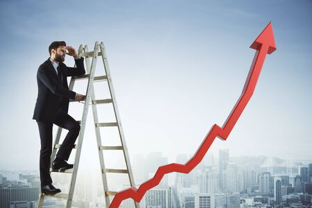 Side view of young businessman climbing ladder and looking into the distance on city background with upward red chart arrow. Financial growth and success concept. 3D Rendering