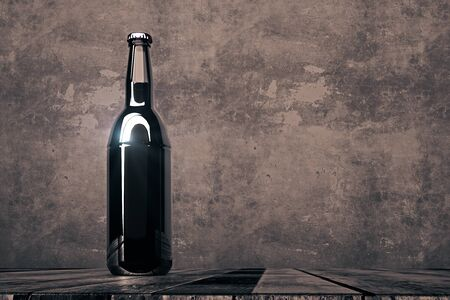 beers: Single empty beer bottle placed on wooden desk on dark concrete background. Alcohol drink beverage logo advertisement concept. Mock up, 3D Rendering