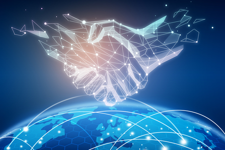 Abstract polygonal handshake over the world with global network and data exchanges. Connectivity concept. 3D Rendering Banco de Imagens