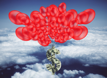 tied in: Dollar banknote sign tied to red balloons in bright sky. Rich concept. 3D Rendering Stock Photo
