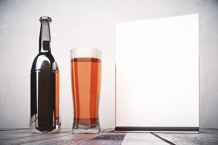 beers: Empty beer bottle, glass and billboard on dark concrete background. Advertising, merchandising concept. Mock up, 3D Rendering