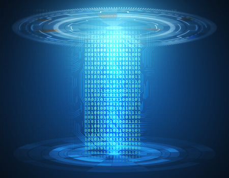 Abstract blue teleport. Technology, innovation, future concept. 3D Rendering Stock Photo