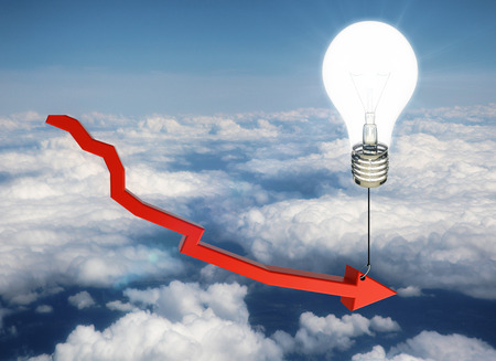 Red chart arrow tied to glowing lamp balloon on sky background. Financial ideas concept. 3D Rendering