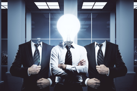 folded arms: Light bulb headed businessmen in office interior with night city view. Innovation, teamwork and ideas concept. 3D Rendering