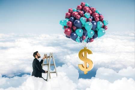 Abstract image of businessman on top of ladder in the sky looking at balloons with dollar sign. Profit concept. 3D Rendering