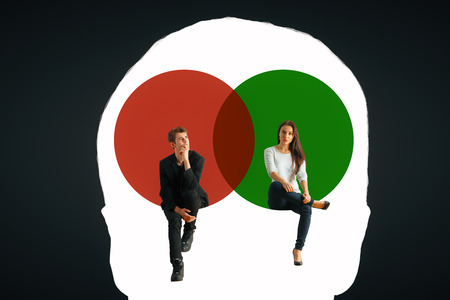 Male head outline with man and woman sitting inside on dark background. Mental gender difference. 3D Rendering Stock Photo