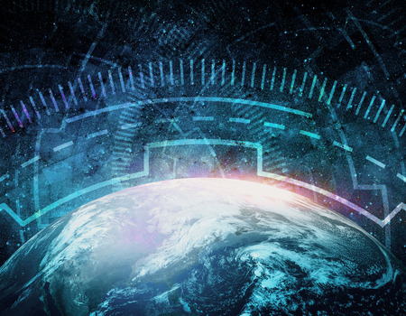 Abstract digital globe in night sky. Global communications, network, future concept. Double exposure.