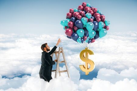 competence: Abstract image of businessman on top of ladder in the sky reaching balloons with dollar sign. Income concept. 3D Rendering