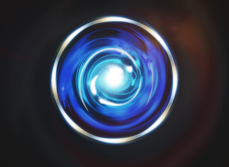 crystal button: Abstract digital blue button on dark background. Technology concept. 3D Rendering Stock Photo