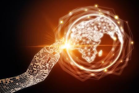 Main numérique abstraite pointant sur globe lumineux lumineux sur fond sombre. Concept d'affaires et de communication internationale. Rendu 3D