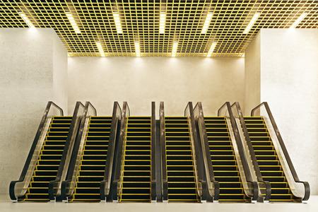 Vooraanzicht van zes nieuwe roltrappen in betonbinnenland met creatief plafond. Modern winkelcentrumconcept. 3D-weergave
