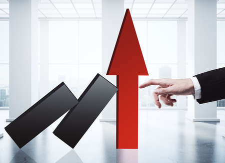 Finger holding red chart arrow in concrete interior with city view and daylight. Income growth concept. 3D Rendering