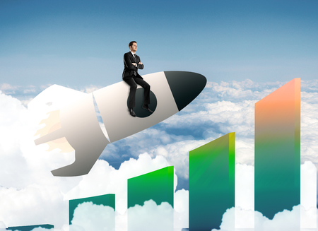 thoughtful: Abstract image of buisnessman sitting on launching space ship with targets and bars on sky background. Startup concept. 3D Rendering Stock Photo