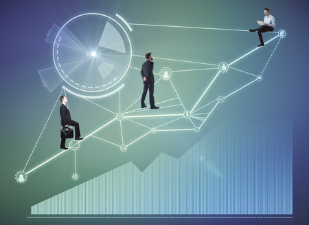 上を歩くビジネスマンは、ビジネスのホログラムを抽象化します。技術革新とチームワークの概念。3 D レンダリング 写真素材