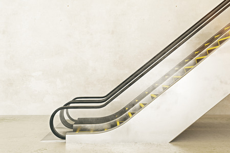 Side view of escalator on empty concrete wall background. Ad concept. Mock up, 3D Rendering