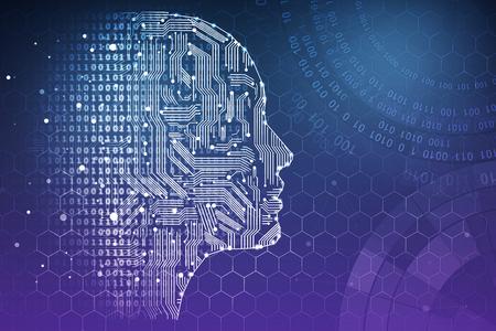 人工知能。人間頭輪郭内部の回路基板。技術とイノベーションの概念。3 D レンダリング 写真素材