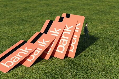 risky: Pink bank cards falling onto thoughtful businessman standing on grass. Credit concept. 3D Rendering