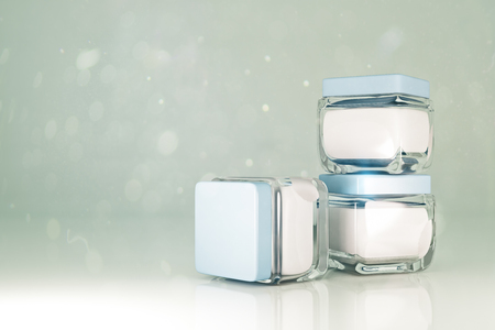 commercial medicine: Three white cream jars on light background with copy space for your text. Mock up, 3D Rendering