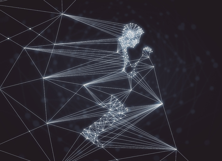 Abstract polygonal man on blurry dark background. 3D Rendering
