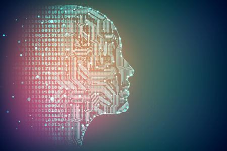 Kunstmatige intelligentie. Menselijke hoofdomtrek met printplaat binnen. Technologie en netwerkconcept. 3D-weergave