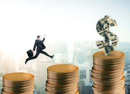 Businessman running up abstract golden coin ladder on city background with dollar banknote sign. Financial growth concept. 3D Rendering Stock Photo
